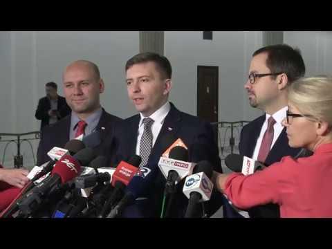 Ł. Schreiber, S. Szynkowski vel Sęk, M. Horała – Konferencja prasowa Posłów PiS w Sejmie