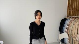 여자봄코디 프릴가디건 그레이진 | 사색 쇼핑몰 촬영 스…
