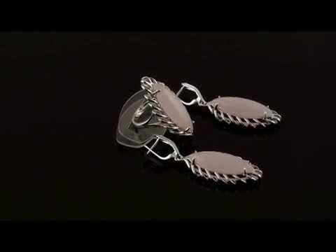 Кольца и серьги из розового кварца