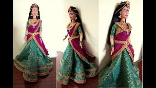 South indian Barbie half saree making/How to decorate barbie with half saree and jewellery