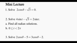Trig: Solving Equations 1