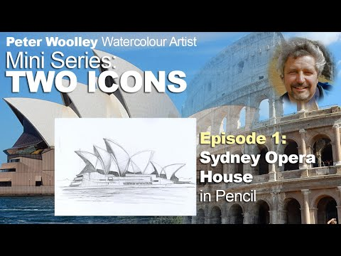 TWO ICONS EPISODE 1 - Sydney Opera House PENCIL SKETCH