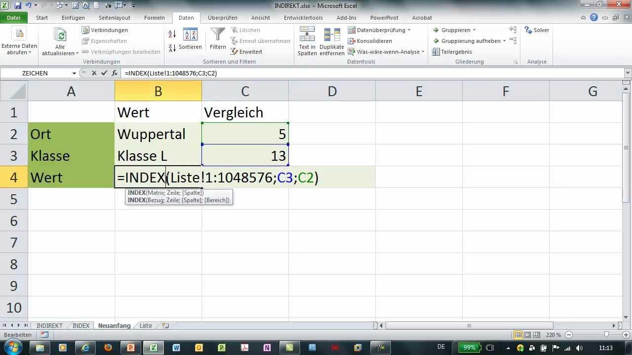Excel Index Und Indirekt Alternativ Zu Sverweis Youtube