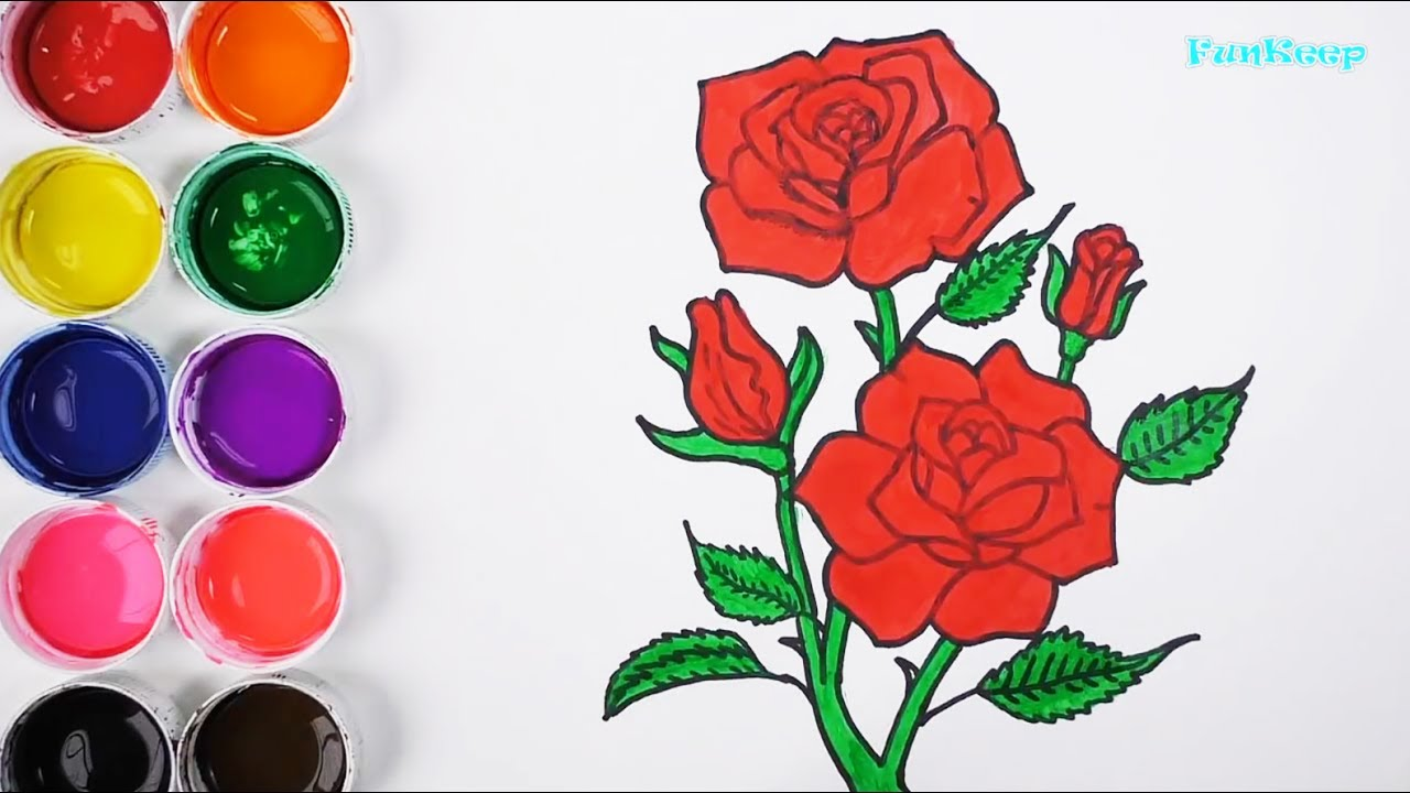 Dibuja Y Colorea Una Rosa Dibujos Para Niños Learn Draw And Colors Funkeep