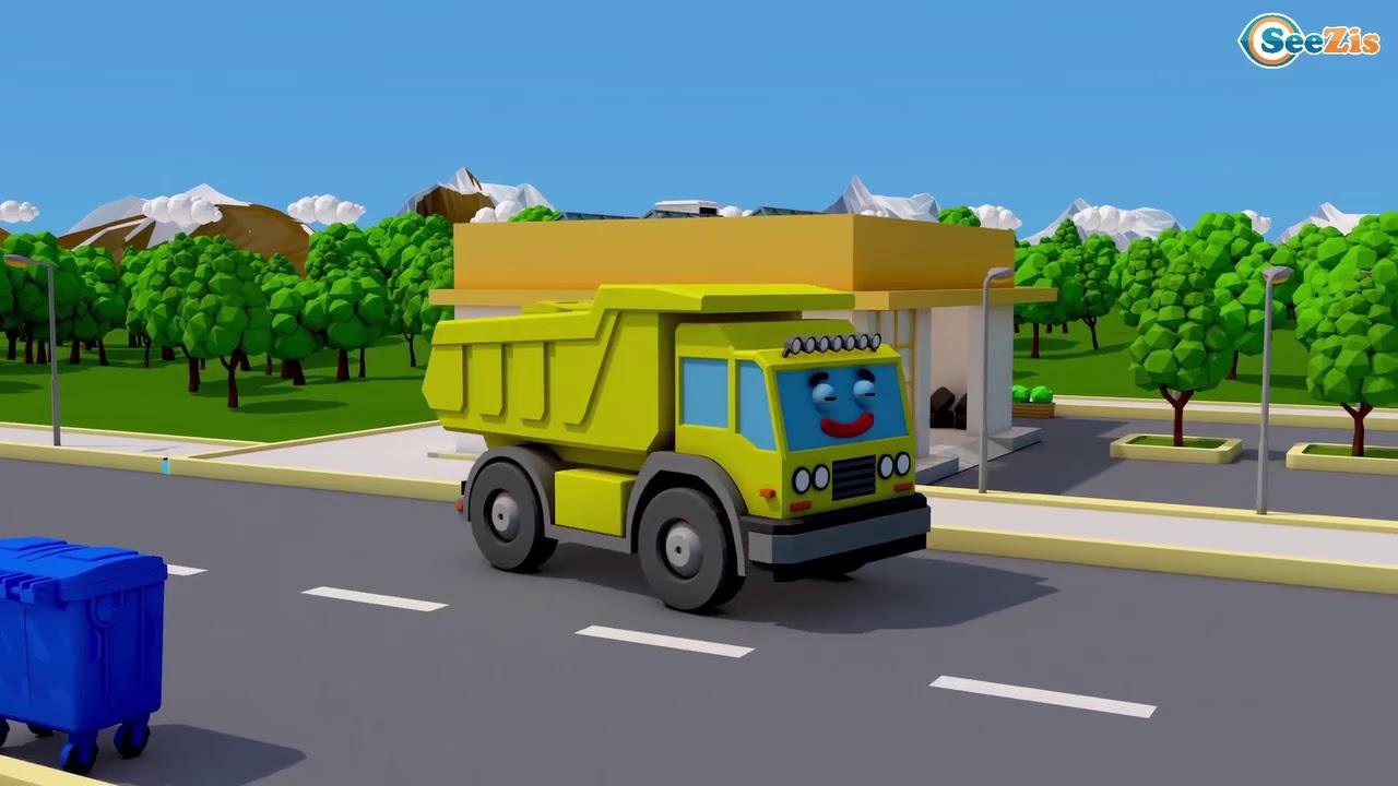 Bagger kinder 3D🚗Bagger gräbt Grube Cartoon für Kinder ...