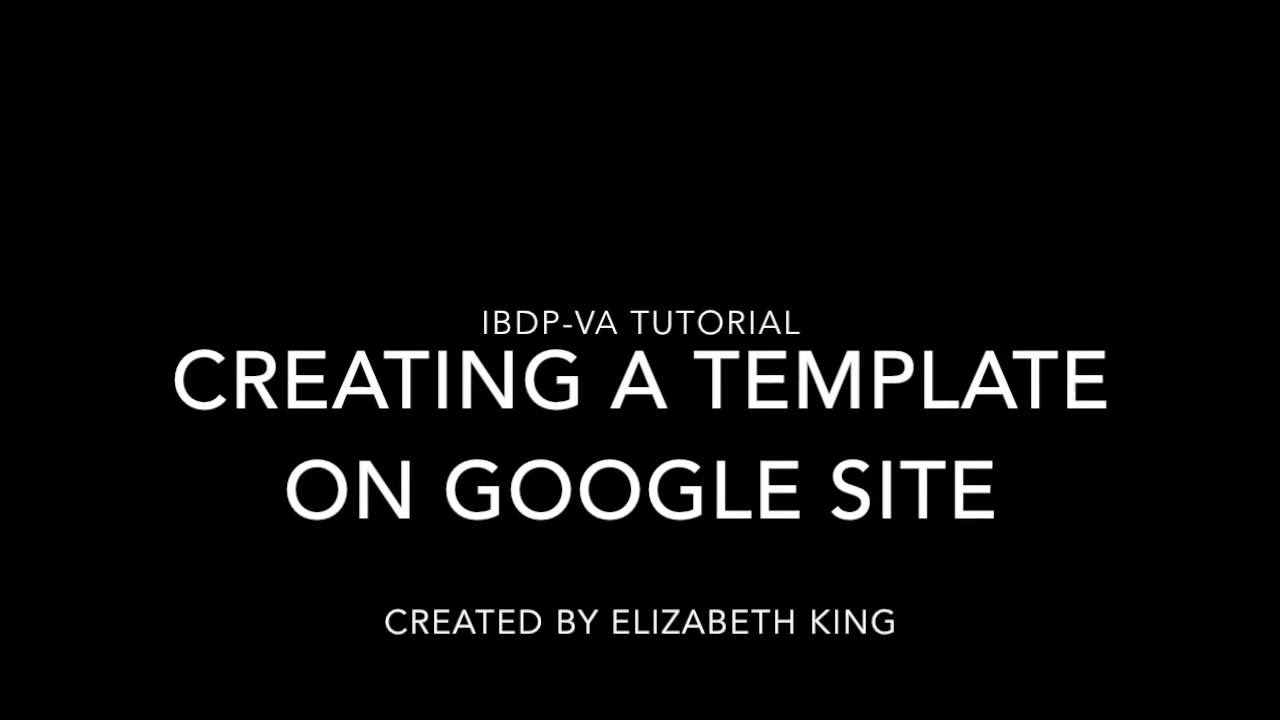 Creating a Template in Google Sites