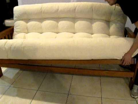 Futon de madera hogartodo delta 8 deltacolchones youtube - Sofa cama futones ...