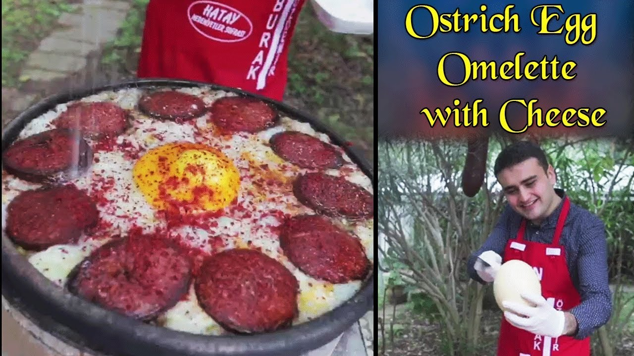 Turkish Ostrich Egg Omelette with Cheese and Sausages|CZN Burak Ostrich Omelette|Turkish Food Heaven