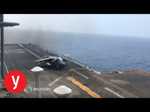 """ספינת ה USS BOXER האמריקנית שהשמידה מל""""ט איראני"""