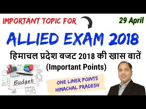 Himachal Pradesh Budget 2018 Important Points For HP Allied Exam 2018 !