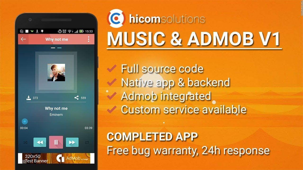Music with Admob Android App Template, Script, Source Code for Sale