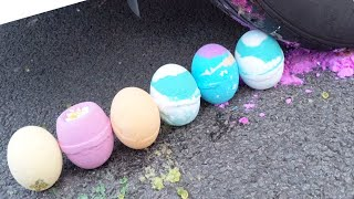 Crushing Crunchy and Soft Things by Car! - Bath bombs, Spaghetti! Satisfying ASMR videos