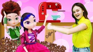 Весёлые игры для девочек - Сказочный Патруль в кофейне! Как стать Бариста? - Новое видео с куклами.