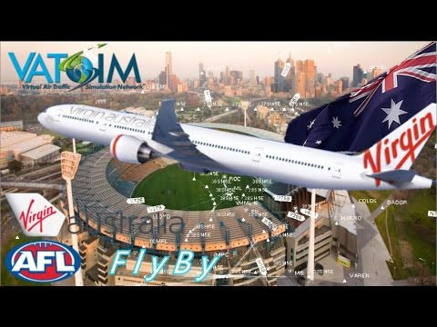 PMDG 777 Draws Aussie Rules AFL Cup Flightplan On Vatsim