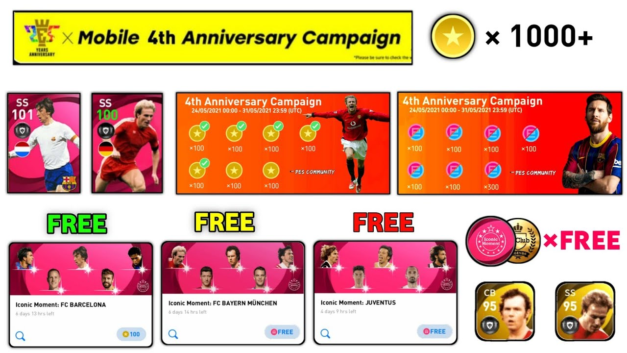 FREE ICONICS PACK , FREE COINS , LEGENDS | 4 TH ANNIVERSARY CAMPAIGN PES 2021
