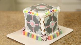 Companion Cube Gingerbread House - QUAKE N BAKE thumbnail