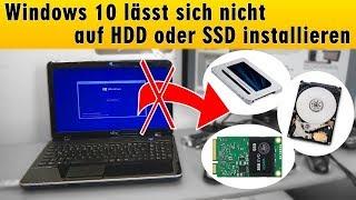 Windows 10 lässt sich nicht installieren auf HDD oder SSD - einfache Lösung - [4K]