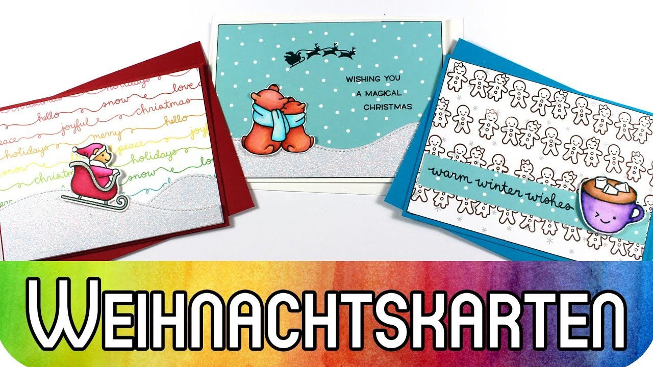 Schnelle Weihnachtskarten Basteln.Diy Scrapbooking 3 Schnelle Weihnachtskarten Mit Dem Neuen Lawn Fawn Release