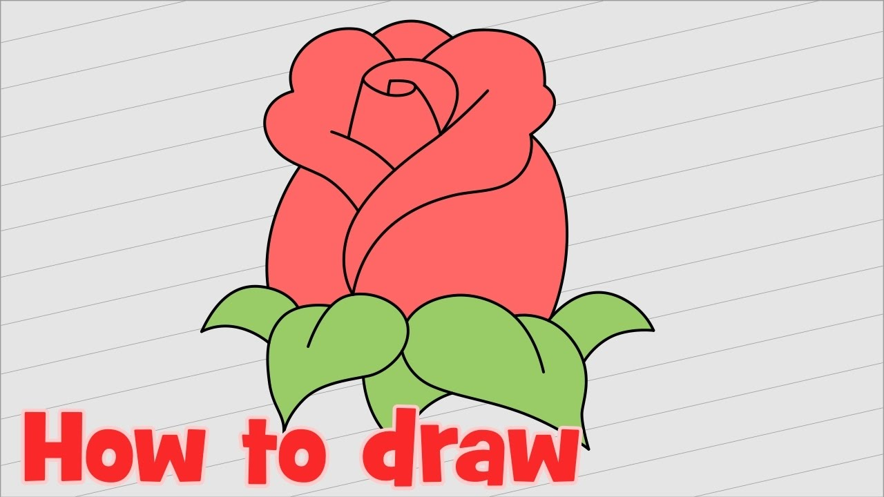 How To Draw A Cute Rose Step By Step