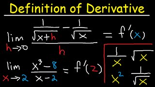 Limit Definition Derivative Square Root Fractions Sqrt Examples