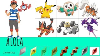 ALL OF ASH'S POKEMON!! (gen 1 - gen 7)