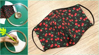 Making masks easy with pot/pan lid cover #1 | Face mask sewing tutorial | Face mask DIY