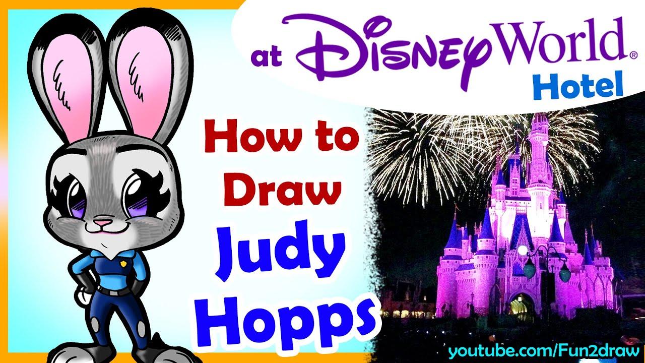 How To Draw A Judy Hopps Zootopia From My Disney World Hotel  Fun2draw   Youtube