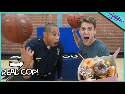 Challenging POLICE OFFICER To Basketball Trick Shot H.O.R.S.E. *WINNER GETS THE DONUTS 🍩!*