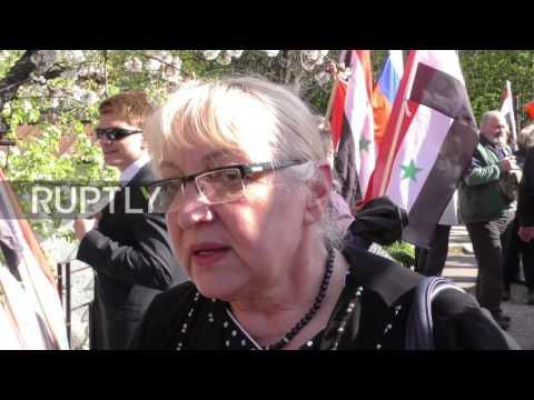 Bulgaria: Protesters decry US strike on Syria outside Sofia embassy
