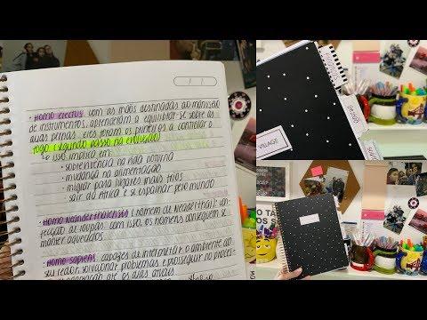 Mostrando o caderno da faculdade