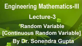 Lecture-3 Random Variable-Continuous Random Variable in Hindi