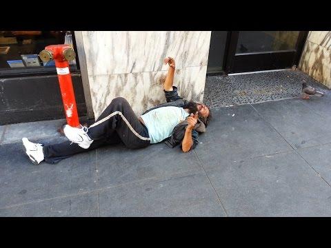 Insane Homeless Man Hallucinating (Downtown San Francisco)