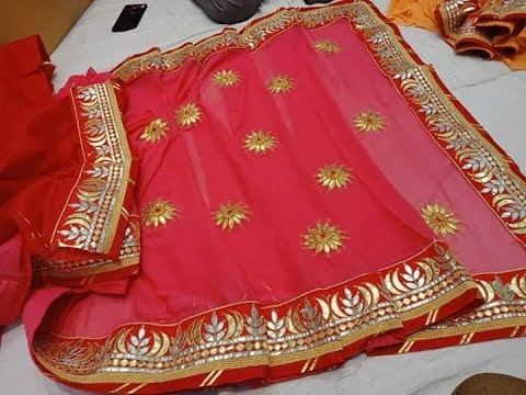 3688ad409de Pure Viscous Georgette Saree With Gota Flower Collections