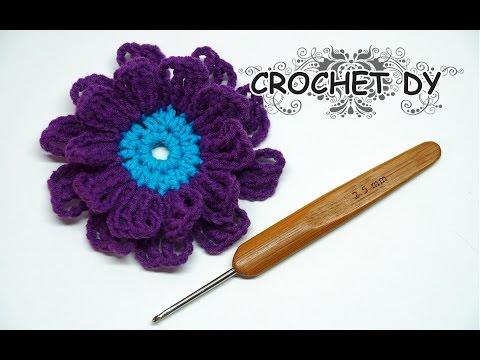 How To - Crochet a Simple  3d Flower / Crochet DY