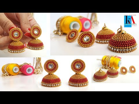 Simple and Beautiful Silk Thread Earrings Making Tutorials || Jhumkas with Studs DIY