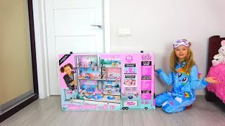 Polina playing with Giant LOL House for dolls