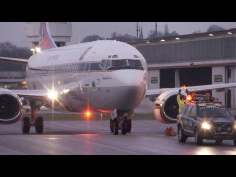 Thai Crown Prince HS-HRH Boeing 737-448 landing in Berne!