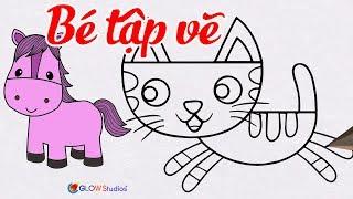 Hướng Dẫn Vẽ Con Vật Đơn Giản Cho Bé || Bé Tập Vẽ Con Mèo, Con Ngựa Dễ Dàng || How to draw for kids?
