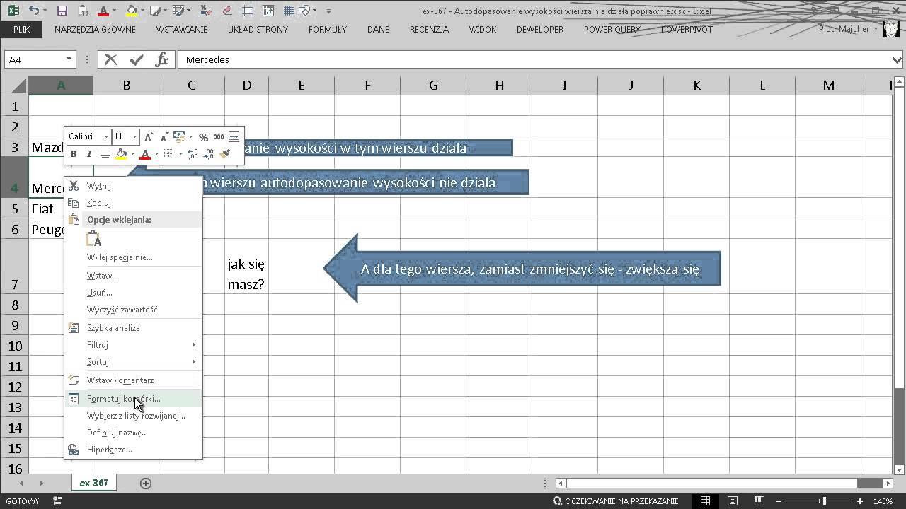Excel 367 Autodopasowanie Wysokości Wiersza Nie Działa Poprawnie