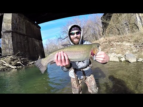 BIG Rainbow Trout - Fishing Under A Train Bridge