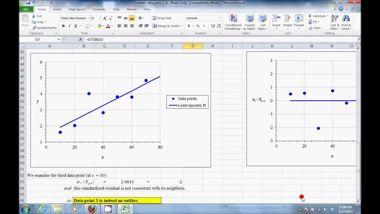 how to detect outliers in regression