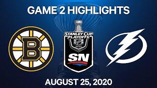 NHL Highlights   2nd Round, Game 2: Bruins vs. Lightning – Aug. 25, 2020