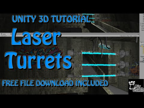 Unity 3D Tutorial: Laser Beam Turrets using Particle System PREFAB DOWNLOAD INCLUDED FREE
