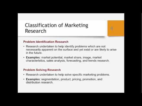 Definition of Marketing Research & Problem Identification vs Problem Solving Research