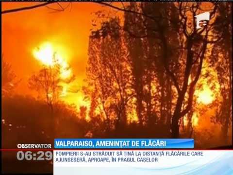 Cel mai mare port din Chile, ameninţat de un uriaş incendiu
