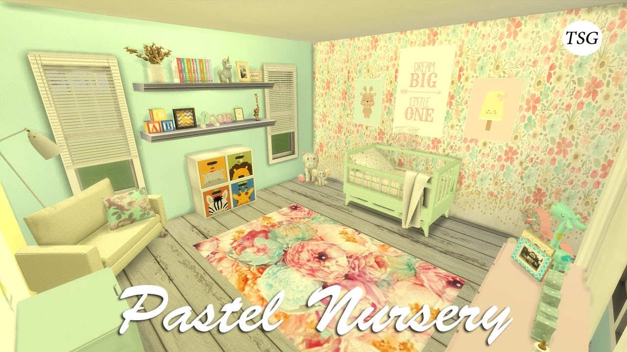 Girl Nursery With Wallpaper The Sims 4 Pastel Nursery Cc Speed Build Youtube