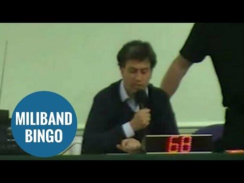 Ed Miliband reading numbers at community bingo night