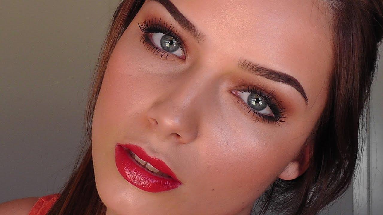 MAKEUP TUTORIAL - Brown Smokey Eye + Red Lips ) - YouTube