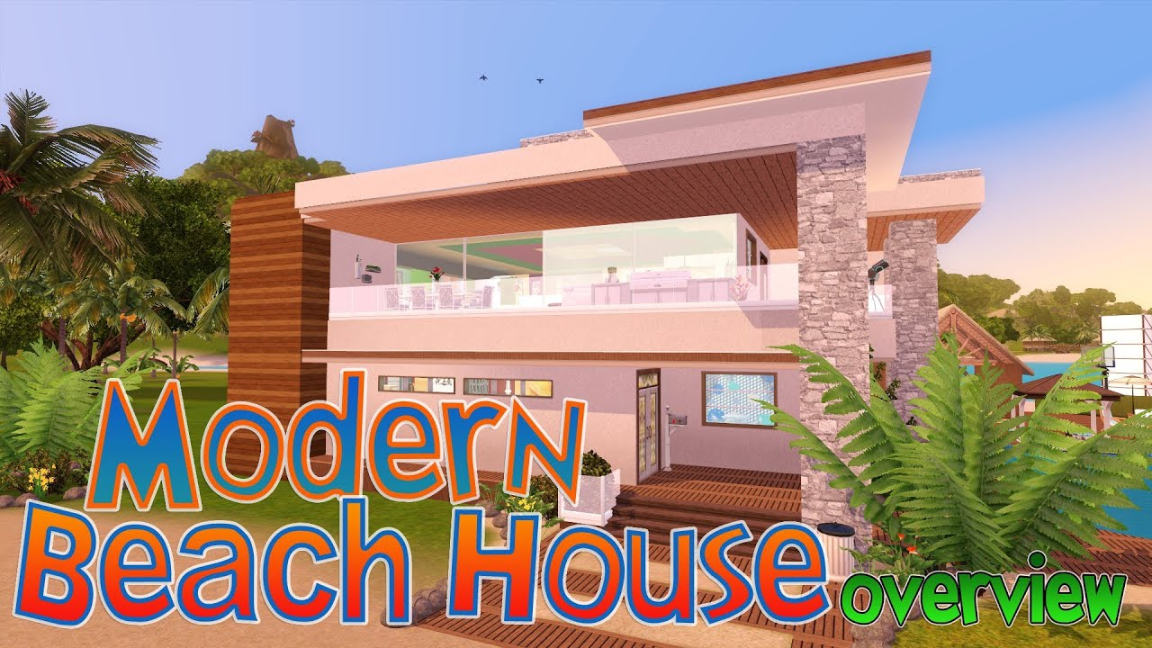 The sims 3 modern beach house youtube for Beach house 3 free download