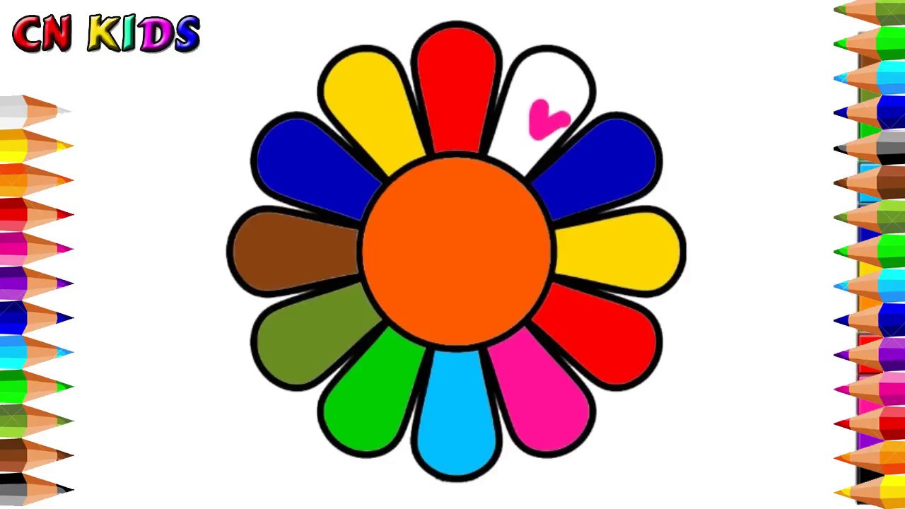 How To Draw Flowers Learning Rainbow Colors For Baby